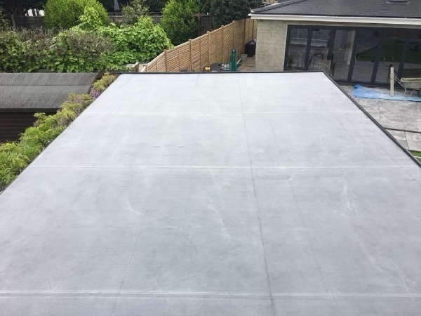 Finished flat roof for outdoor playroom