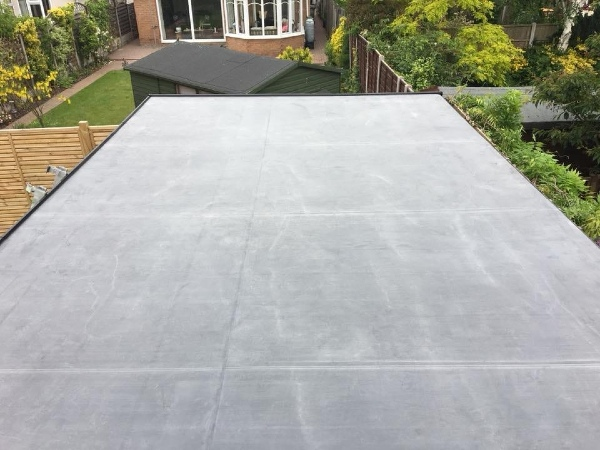 Completed flat roof for outdoor playroom
