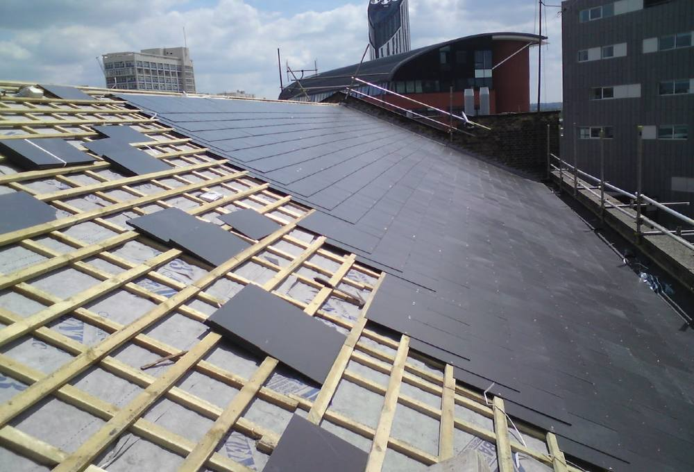 Slate roof in prgress