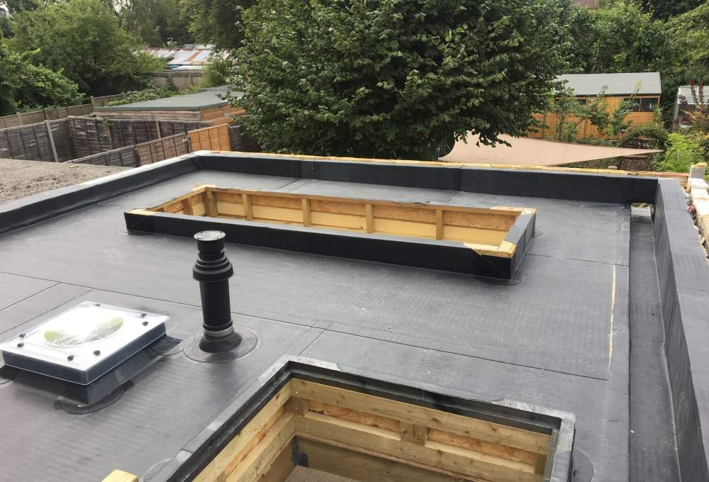 Flat roof in progress