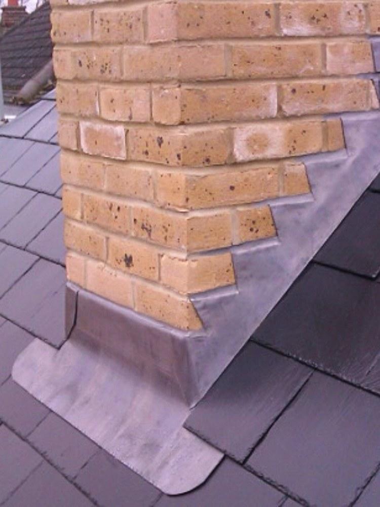 Lead flashing to chimney breast