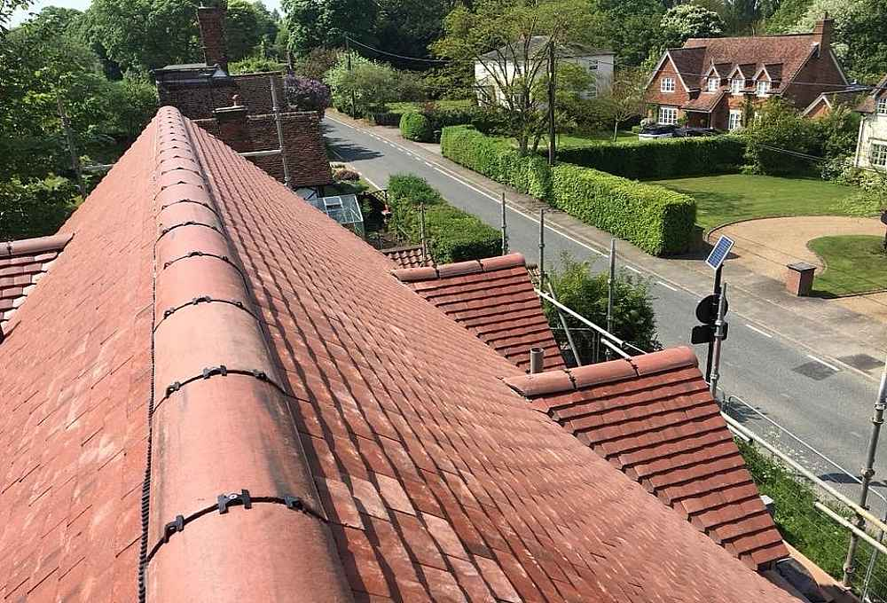 New clay tiles on roof